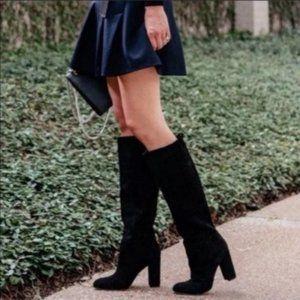 NEW Sam Edelman Caprice Suede Knee High Boot Black